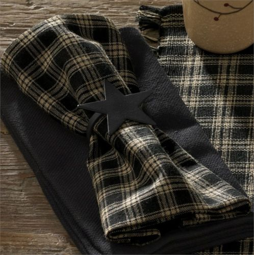 Country Primitive Sturbridge Black Fabric Napkin Farmhouse Plaid - BJS Country Charm