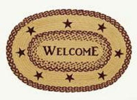 Country Primitive Burgundy Star Braided Welcome Oval Rug 20 x 30 - BJS Country Charm