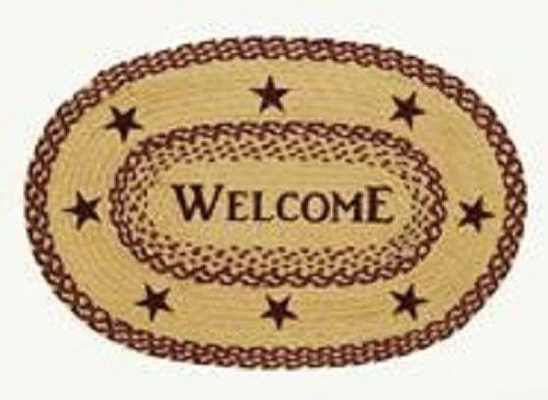 Country Primitive Burgundy Star Braided Welcome Oval Rug 20 x 30