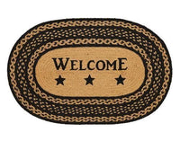 Country Primitive Farmhouse Star Braided Welcome Oval Rug 20 x 30