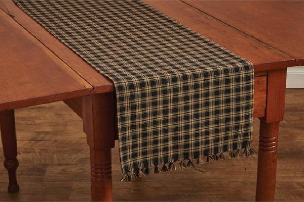 "Primitive Sturbridge Black Plaid Table Runner 36"" - BJS Country Charm"
