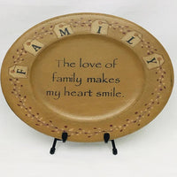Country Primitive Plate The Love of Family - BJS Country Charm
