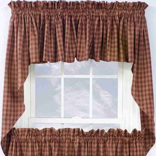 Country Primitive Sturbridge Wine Burgundy Plaid Swags