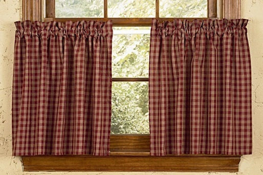 Country Primitive Burgundy Plaid Tiers
