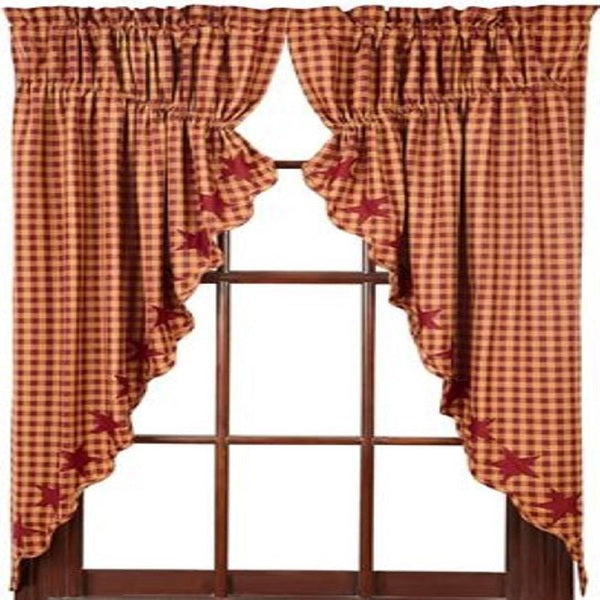 Primitive Burgundy Star Scalloped Prairie Swags