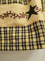 Country PRIMITIVE BERRIES Valance Black Tan Check - BJS Country Charm