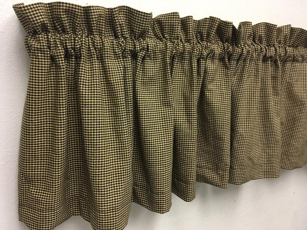 Primitive Black Micro Gingham Check Valance