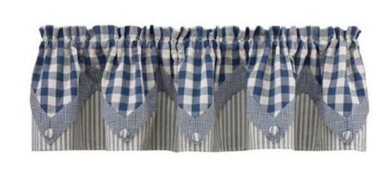 Country Primitive York Blue Pointed Valance Farmhouse Window Curtain