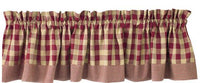 York Burgundy Check Valance - BJS Country Charm