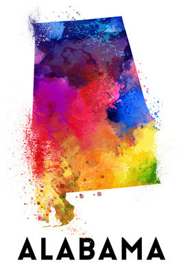 Alabama - State Abstract Watercolor