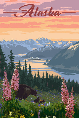 Alaska - Bear and Spring Flowers
