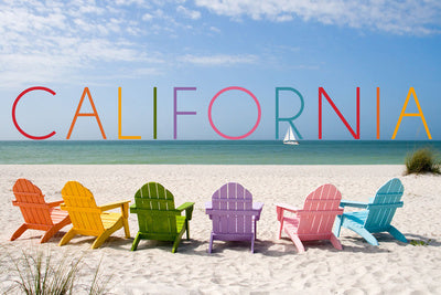 California - Colorful Beach Chairs