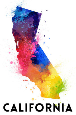 California - State Abstract Watercolor