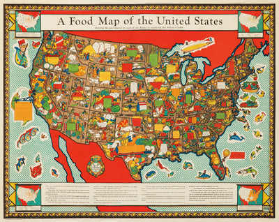 Food Map of the United States c. 1952