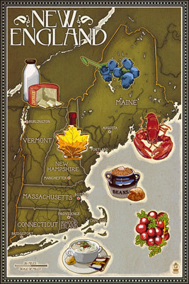 Foods of New England Map