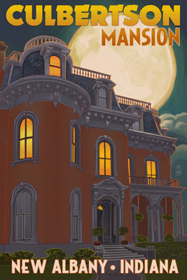 Indiana - New Albany - Culbertson Mansion and Moon