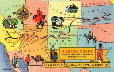 Map of Fred Harvey Hotel Locations - CA to KS