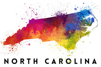 North Carolina - State Abstract Watercolor