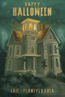 Pennsylvania - Erie - Haunted House Oil Painting