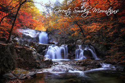 Great Smoky Mountains - Waterfall and Autumn Colors - Photo