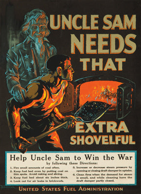 Uncle Sam Needs That Extra Shovelful - Vintage Ad