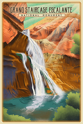 Utah - Grand Staircase Escalante National Monument - Lithograph