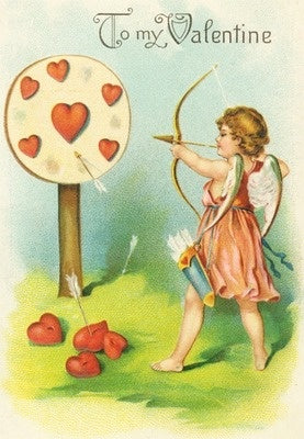 Valentine - Cupid Practicing Shooting Arrows