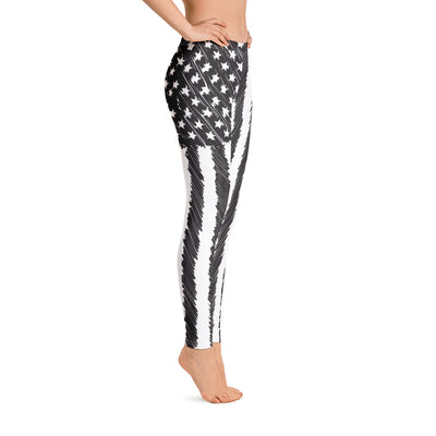 Sketched Flag Women's Leggings Right