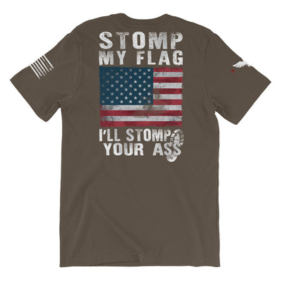 Stomp My Flag I'll Stomp Your Ass Men's T-Shirt Army