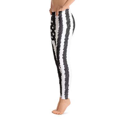 Sketched Flag Women's Leggings Left