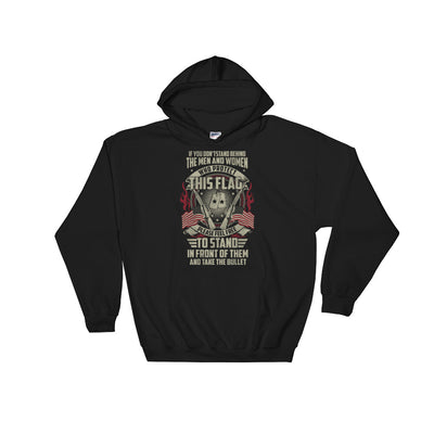 Stand Behind The Men And Woman Who Protect This Flag Men's Hoodie Black