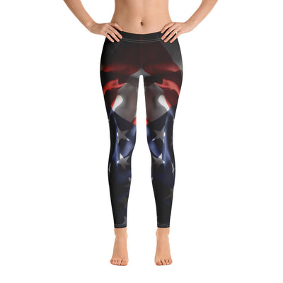 Black Faded Women's Leggings Front