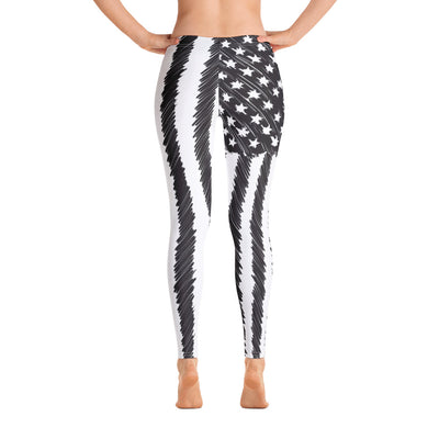 Sketched Flag Women's Leggings Back