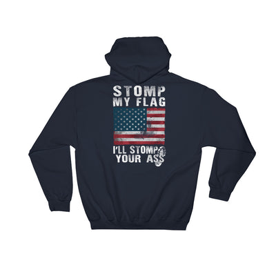 Stomp My Flag I'll Stomp Your Ass Men's Hoodie Navy