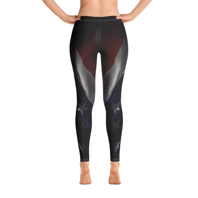 Black Faded Women's Leggings Back