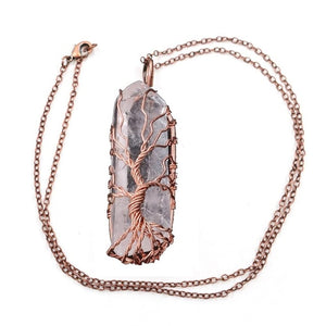1Pcs Natural White Crystal Stone Gemstone Tree Of Life Wire Wrapped Natural Clear Quartz Healing Crystal Point Pendant Necklace