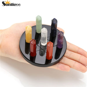 Sunligoo Natural 7 Chakra Healing Crystals Wands Quartz Reiki Energy Tumbled Stones Set Hexagonal Points Array Statue Figurines
