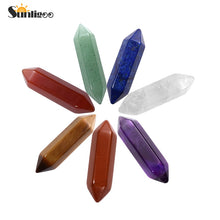 Sunligoo 1x Hot Double Terminated Natural Tumbled Hexagonal Column Healing Quartz Crystals Natural Stones Mini Gemstone 8*30mm