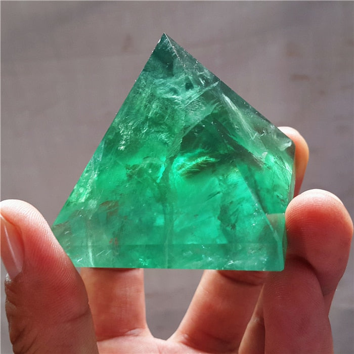 Natural Fluorite Quartz Crystal Polished pyramid Specimen Healing     A2