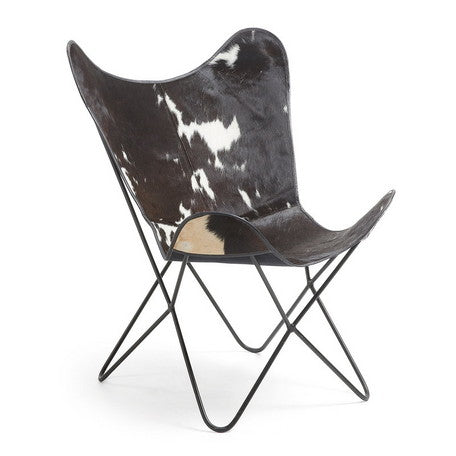 FLYNN butterfly chair (black × white leather)