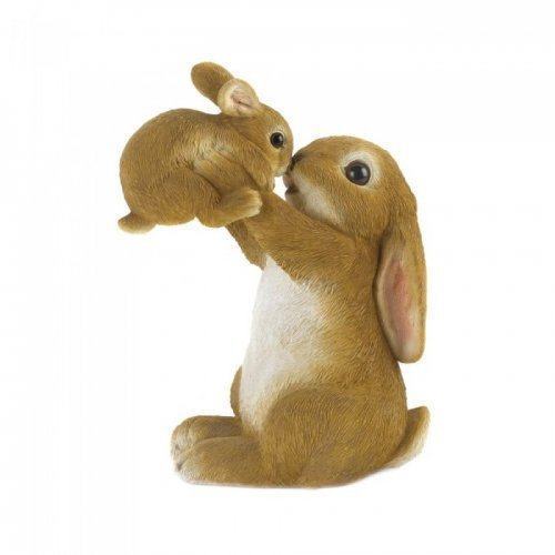 Playful Mom And Baby Rabbit Figurine