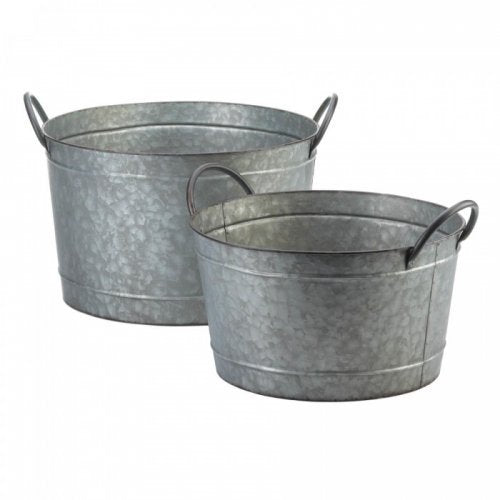 Galvanized Bucket Planter Duo