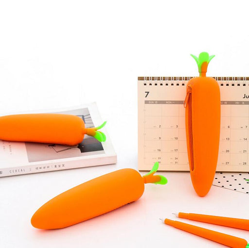 Carrot Vegetable Soft Silicone Pencil Case Stationery Storage Organizer Bag School Office Supply Escolar