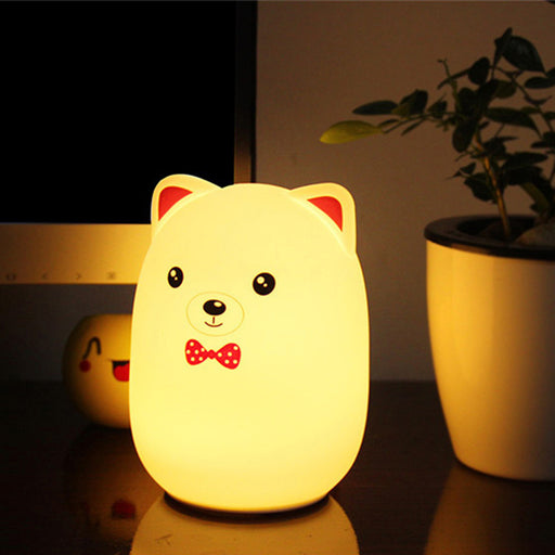 ICOCO New 3 LED USB Rechargable Silicone Cartoon Colorful Rabbit/Bear Control Version Lamp Night Light Bedroom Decoration