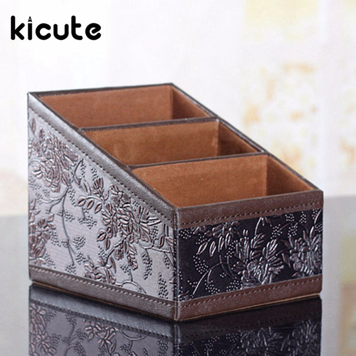 Kicute 1pcs PU Leather Vintage Storage Box Stationery Container Home Storage Tools Sundries Organizer Office School Supplies