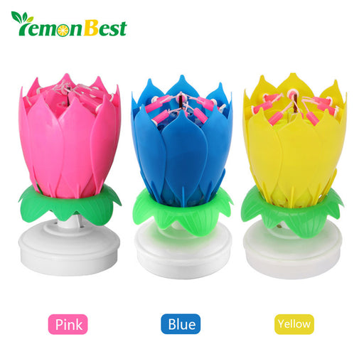 LemonBest Musical Rotating Lotus Flower Rotation Music Birthday Candles Cake Topper Party Birthday Candle Light Lamp Gift