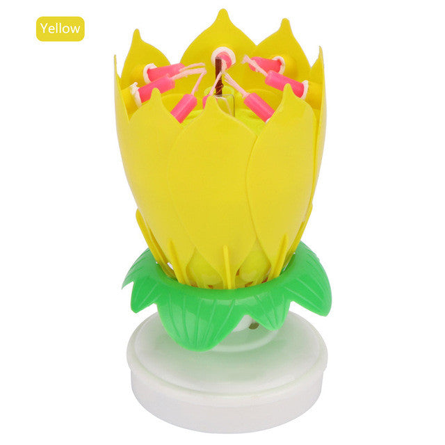 LemonBest Musical Rotating Lotus Flower Rotation Music Birthday Candles Cake Topper Party Candle Light Lamp