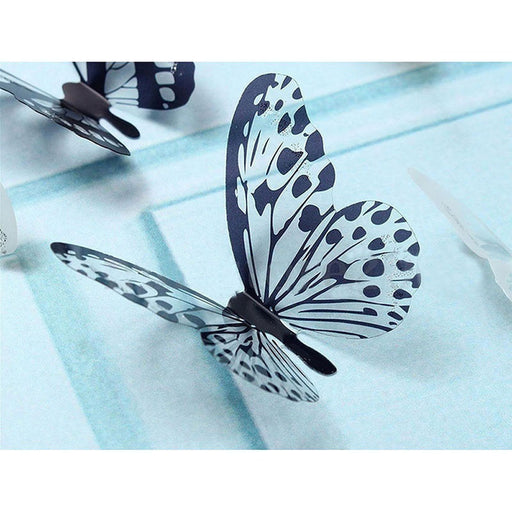 36 Pcs 3D Black White Butterfly Sticker Art Wall Decal Mural Home Decoration