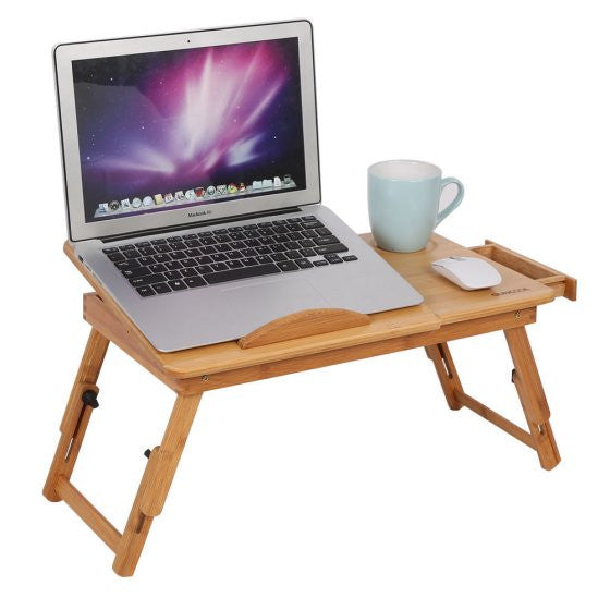 Adjustable Natural Bamboo Laptop Desk Laptop Stand Breakfast Serving Bed Tray with Tilting Top Drawer Up to 15in Folding Bed Tab
