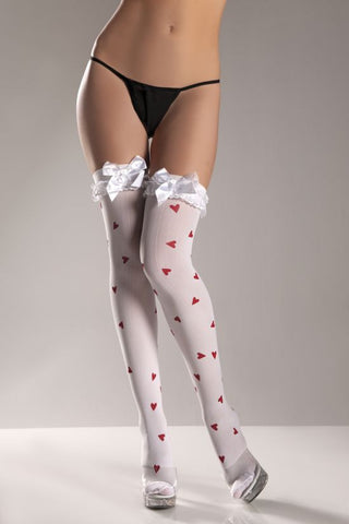 heart pattern thigh highs